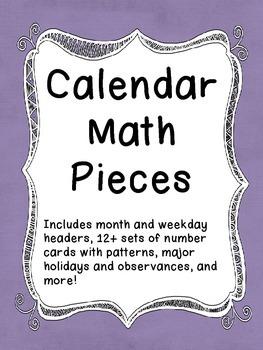 Calendar Math - Pieces and Labels