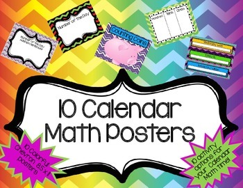 Calendar Math Posters- Chevron- 10 Activity options for your calendar math time