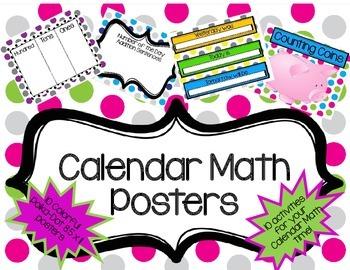 Calendar Math Posters- Polka-dot:10 Activity options for calendar math time!