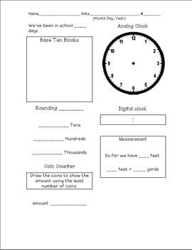 Calendar Math Recording Sheet