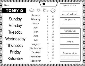 Number Sense Activities Morning Work Year Long Calendar Math Review
