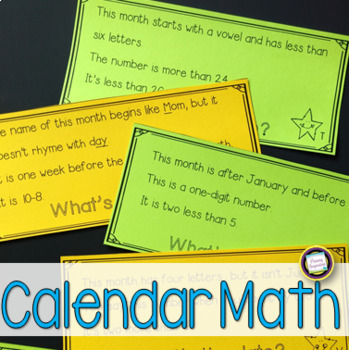 Calendar Math Riddles for First Grade Math