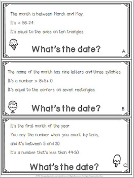 Calendar Math Riddles for First Grade and Second Grade