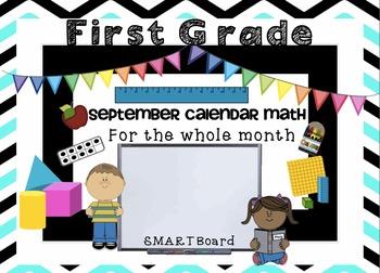 Calendar Math SMARTBoard for September Common Core-Attenda