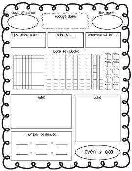 Calendar Math Sheets