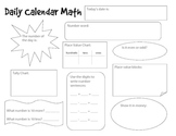 Calendar Math Student Templates and Worksheets
