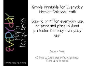 Calendar Math Template