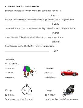 Calendar Math Worksheet - Week Before/After, Less/More/Same As