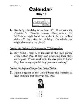 Teaching Calendar Skills   3rd, 4th, 5th Grade Common Core Math Practice