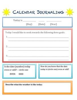 Calendar Math and Journaling