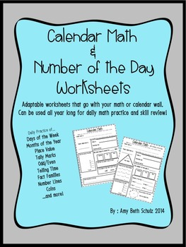 Calendar Math and Number of the Day worksheets