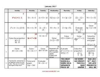 Calendar Math for Middle School