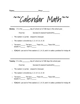Calendar Math for Middle Schoolers