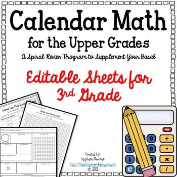 Calendar Math for Upper Grades  -- 3rd Grade -- Editable Version