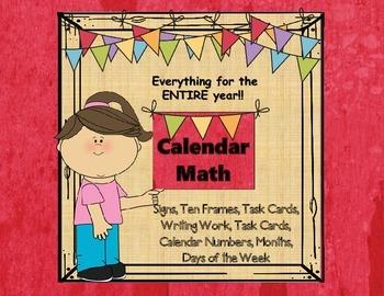 Calendar Math-Huge Bundle- Task Cards, Activity Sheets, Wr