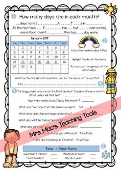 Calendar Maths - Tasks & Questions - July & August 2017 & 2018