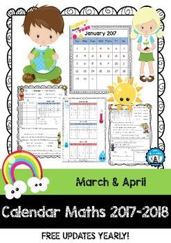 Calendar Maths - Tasks & Questions - March & April 2017 & 2018