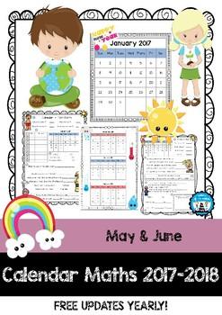 Calendar Maths - Tasks & Questions - May & June 2017 & 2018