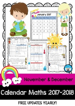 Calendar Maths - Tasks & Questions - November & December 2017 & 2018