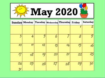 Interactive Calendar 2020 Calendar May 2020 (Interactive) by LOLLIPOP LEARNING | TpT