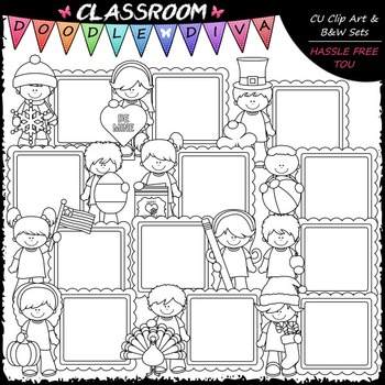 Calendar Message Board Kids Clip Art - Monthly Clip Art & B&W Set