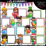 Calendar Message Board Kids Clip Art - Monthly Clip Art & B&W Set