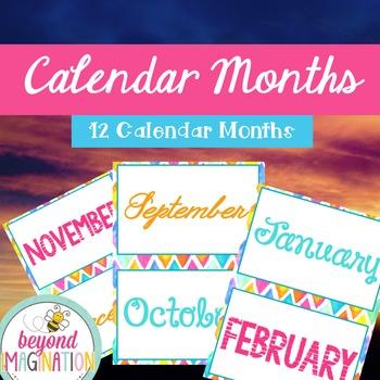 Classroom Decor Calendar Mini-Bundle Bright and Bold Themed