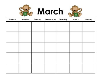 Calendar - Monkey Themed - School Year 2013-2014