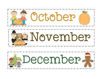 Calendar Month Cards