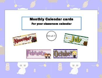 Calendar Month Cards-Harry Potter inspired