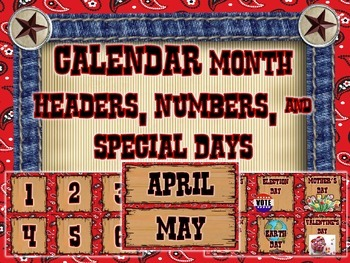 Calendar - Month Headers, Numbers, and Special Days - Western Theme