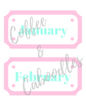 Calendar Month Labels Pink and Mint