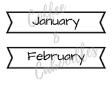 Calendar Month Labels White and Black