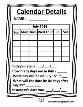 Monthly Calander Activity Worksheets