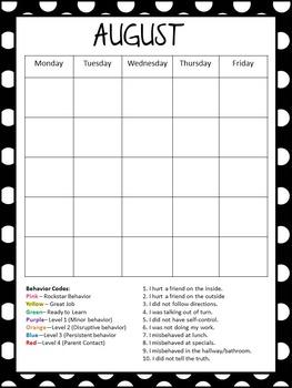 Calendar: Monthly Behavior Calendars