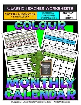 Calendar -Monthly Calendar (Mon. to Fri.) & Monthly Information Templates-Colour