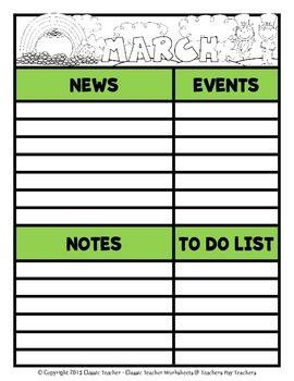 Calendar -Monthly Calendar (Sun. to Sat.) & Monthly Information Templates-Colour