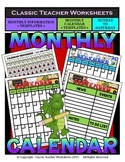 Calendar - Monthly Calendar (Sunday to Saturday) & Monthly Information Templates