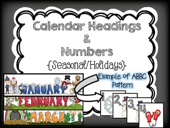 Calendar Monthly Headings and Numbers {Holiday/Seasonal}