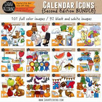 Calendar Monthly Icons Clip Art BUNDLE {Second Edition}