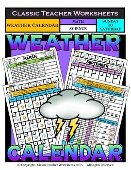 Calendar - Monthly Weather Calendar - Sunday to Saturday -