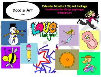 Calendar Months 3 Clipart Pack