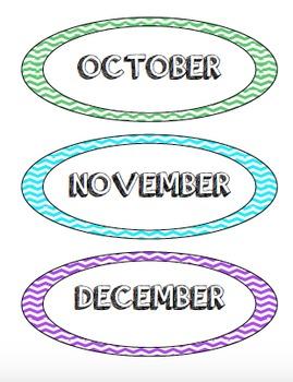 Calendar Months - Bright Chevron