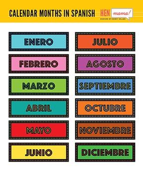 Calendar Months Clipart - Spanish