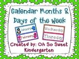 Calendar Months & Days of the Week Polka Dots