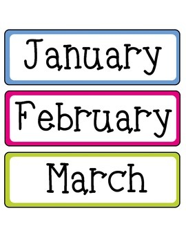 Calendar Months, Days of the Week, and Numbers