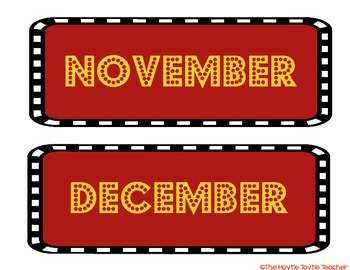 Calendar Months (Hollywood/Movie Theme)