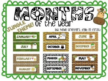 Calendar Months (Jungle Theme) - Back to School!