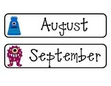 Calendar Months--Monster Themed