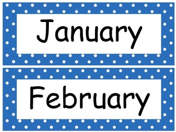 Calendar Months Numbers Days in Polka Dot Theme in 11 colors